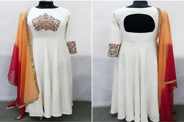 White readymade chudhidhar material