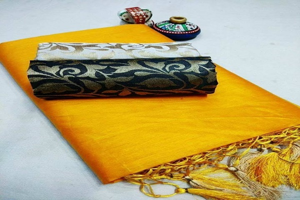 Yellow color silk chudidhar